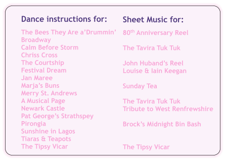 Sheet Music for:  80th Anniversary Reel  The Tavira Tuk Tuk  John Huband's Reel Louise & Iain Keegan  Sunday Tea  The Tavira Tuk Tuk Tribute to West Renfrewshire  Brock's Midnight Bin Bash   The Tipsy Vicar Dance instructions for:  The Bees They Are a'Drummin' Broadway Calm Before Storm Chriss Cross The Courtship Festival Dream Jan Maree Marja's Buns Merry St. Andrews A Musical Page Newark Castle Pat George's Strathspey Pirongia Sunshine in Lagos Tiaras & Teapots The Tipsy Vicar