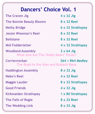 Dancers' Choice Vol. 1  The Craven Jig	4 x 32 Jig  The Bonnie Beauly Blooms	8 x 32 Reel  Nethy Bridge	6 x 32 Strathspey  Jessie Wiseman's Reel	8 x 32 Reel  Bellstane	8 x 32 Reel  Mid Fodderletter	4 x 32 Strathspey  Woodland Assembly	2 x 64 Jig What else but The Teddy Bears' Picnic?  Corrievreckan	S64 + R64 Medley The Road to the Isles and Bratach Bana  Haddington Assembly	8 x 32 Jig  Neko's Reel	4 x 32 Reel  Maggie Lauder	8 x 32 Strathspey  Good Friends	4 x 32 Jig  Kirkmaiden Strathspey	1 x 80 Strathspey  The Falls of Rogie	8 x 32 Reel   The Wedding Link	8 x 32 Jig