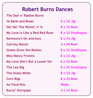 Robert Burns Dances  The Star o' Rabbie Burns  Ye Bank and Braes	8 x 32 Jig  Ha! Ha! The Wooin' o' It	8 x 32 Reel  My Love is Like a Red Red Rose	8 x 32 Strathspey  Kenmure's On and Awa	8 x 24 Jig  Cairney Mount	4 x 40 Reel  Green Grow the Rashes	8 x 32 Strathspey  Miss Nancy Frowns	8 x 32 Jig  My Love She's But a Lassie Yet	6 x 32 Reel  The Lea Rig	8 x 32 Strathspey  The Dusty Miller	8 x 32 Jig  Corn Rigs	8 x 32 Reel  Ae Fond Kiss	Waltz  Burns' Hornpipe	4 x 32 Reel